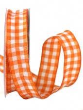 Károvaná stuha 10 mm -  oranžová