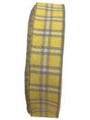 Károvaná stuha 25 mm s drôtom - žltá