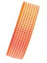 Károvaná stuha 25 mm - oranžová