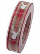 Károvaná vianočná stuha 25 mm s jeleňom - červená