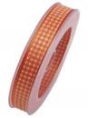 Károvaná stuha 15 mm - oranžová