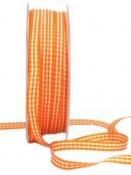 Károvaná stuha 6 mm - oranžová