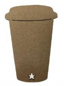 Kartónový kraftový výrez 10 cm - Káva so sebou