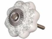 Keramická úchytka 4 cm - sivý ornament