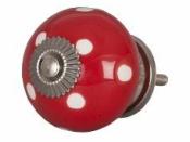 Keramická úchytka 4 cm - červená