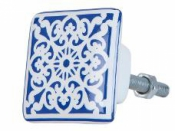 Keramická úchytka 3x3 cm - modrá