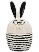 Jarná dekorácia dóza keramický zajac s okuliarmi 20 cm