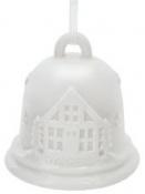 Keramický vianočný zvonček s domčekom - biely