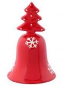 Keramický vianočný zvonček - červený