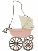 Drevený závesný kočiar - ružový