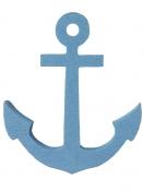 Drevená dekorácia kotva 7 cm - modrá