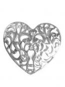 Kovové srdce duté - dekorácia 6 cm - strieborné