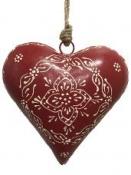 Kovové srdce tučné 16 cm - červené