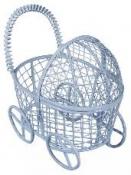Kovový kočiarik - 8cm - modrý