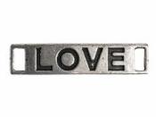 Kovový štítok LOVE navliekací - strieborný