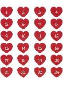 Kreatívne nálepky - adventné čísla - srdiečka