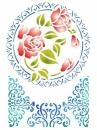 Šablóna 21 x 29,7cm - Čipka a ruža