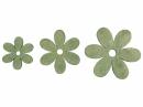 Drevený výrez kvet - 3cm - vintage zelený