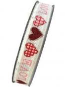 Ľanová stuha so srdiečkami 15mm - LOVE červená