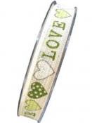 Ľanová stuha so srdiečkami 15mm - LOVE zelená