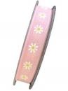 Ľanová stuha 15mm -ružová s margarétkami
