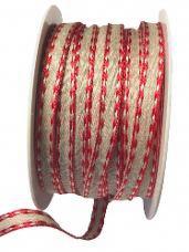 Ľanová stuha 7 mm s červenou bordúrou - ražná