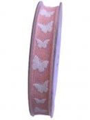 Ľanová stuha s 3D motýľmi 15mm - ružová