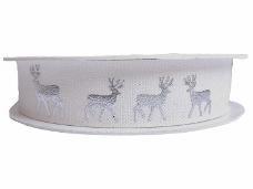 Vianočná stuha 20 mm so striebornými jeleňmi - biela