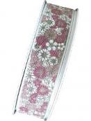 Ľanová stuha 25 mm s potlačou - kvietky