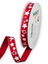 Ľanová vianočná stuha 15 mm s hviezdičkami - červená