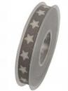 Ľanová vianočná stuha 15 mm s hviezdičkami - sivá