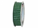 Látková károvaná stuha 25 mm - zelená