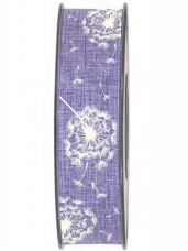 Látková stuha 25 mm púpava - fialová