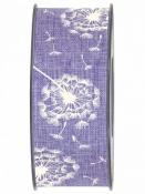 Látková stuha 40 mm púpava - fialová