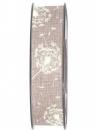 Látková stuha 25 mm púpava - prírodná