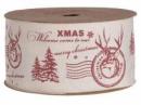 Látková stuha prírodná - 4cm - Vianočná pošta