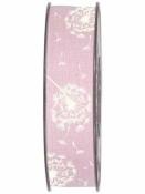 Látková stuha 25 mm púpava - ružová