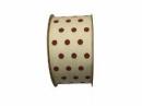 Látková stuha prírodná s bordovými bodkami - 4cm