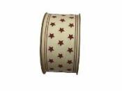 Látková stuha prírodná s bordovými hviezdičkami - 4cm