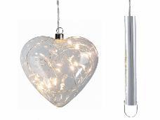 Vianočná svetelná LED dekorácia 12 cm  - srdce