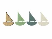 Drevený výrez 5 cm loďka - biela