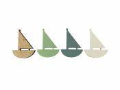 Drevený výrez 4 cm loďka - biela