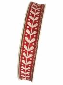 Ľanová stuha 15mm - ľudová - červená