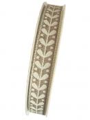 Ľanová stuha 15mm - ľudová - prírodná
