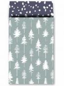 Luxusné papierové vrecúško 12 x 19cm 10 kusov- mentolové stromčeky