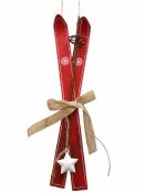 Lyže - vianočná závesná dekorácia 30cm - červené