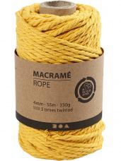 Macramé bavlnený špagát 4 mm - žltý