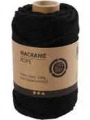 Macramé bavlnený špagát 4 mm - čierny
