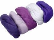 Merino plsť - vlna 50 g farebný mix - fialová