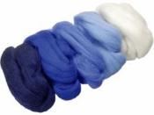 Merino plsť - vlna 50 g farebný mix - modrá